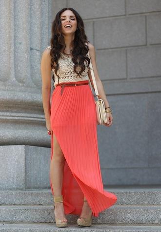 t-shirt shoes jewels skirt bag nany's klozet coral skirt