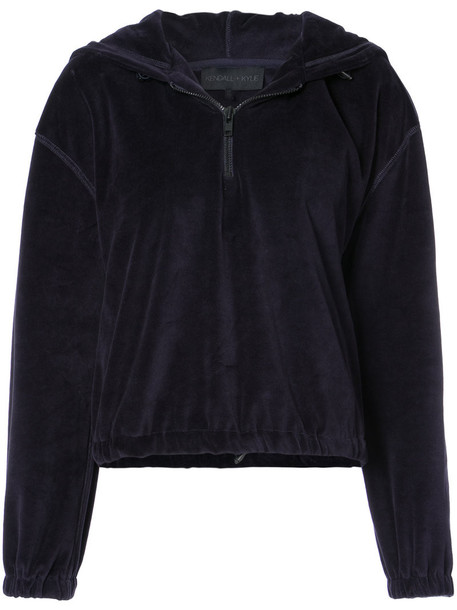 KENDALL+KYLIE hoodie zip women cotton blue sweater
