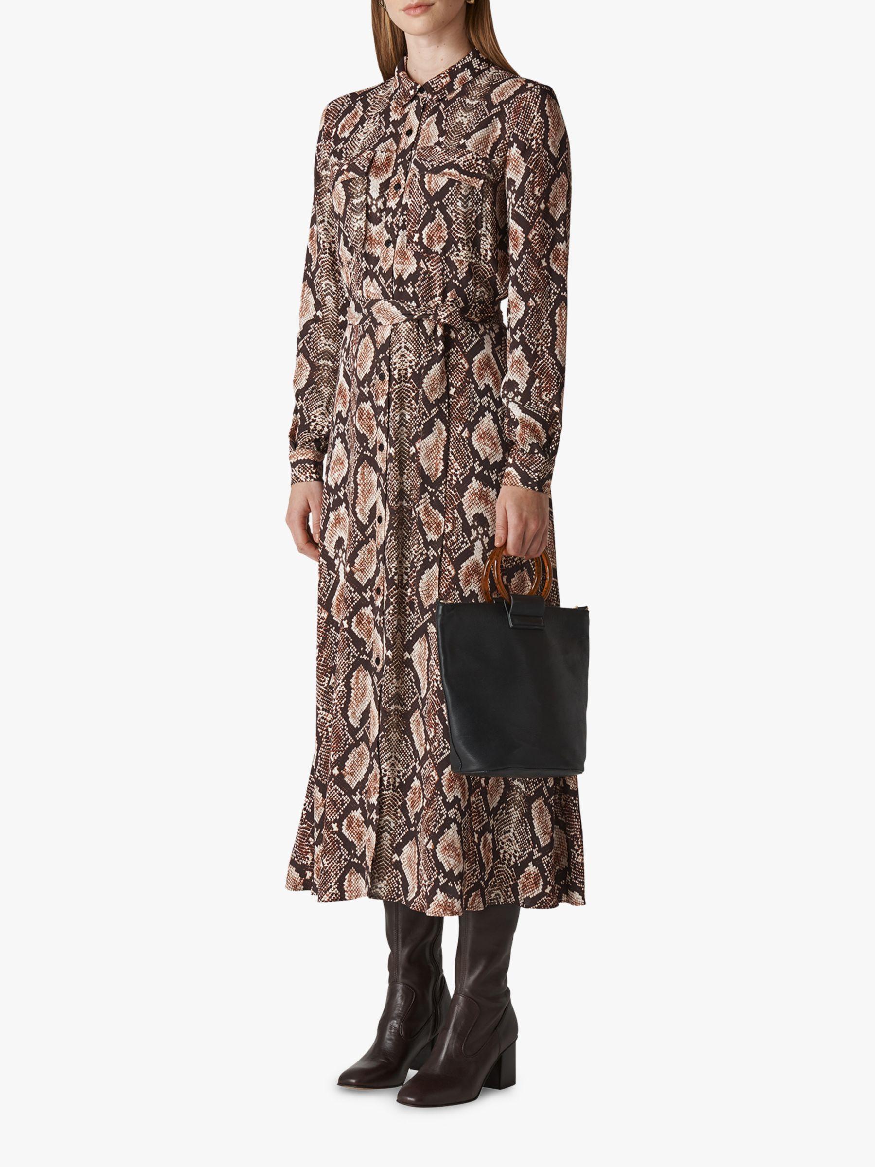 Whistles Elfrida Snake Print Dress, Multi at John Lewis & Partners