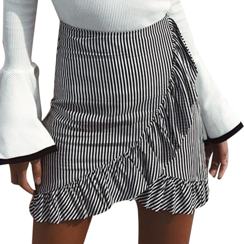 Femmes Jupe,OverDose Taille Haute Mini-Jupe Vichy à Volants Casual: Amazon.fr: Vêtements et accessoires