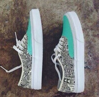 black and white tribal pattern turquoise vans