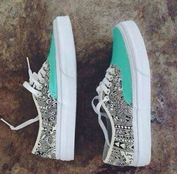 tribal pattern black and white turquoise vans