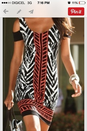 dress tribal print dress cute dress colorblock black and white