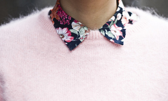 shirt pastel blouse flowers floral fuzzy sweater pastel pink baby pink