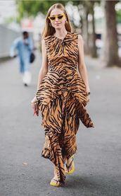 dress,blogger,animal print,pernille teisbaek,fashion week,streetstyle,paris fashion week 2018,asymmetrical,tiger print