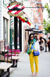 fastfood&fastfashion,blogger,top,scarf,bag,pants,shoes,yellow pants,blue bag,fall outfits,pumps