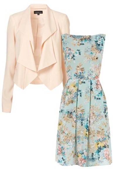 dress floral dress jacket clothes blazer clothing