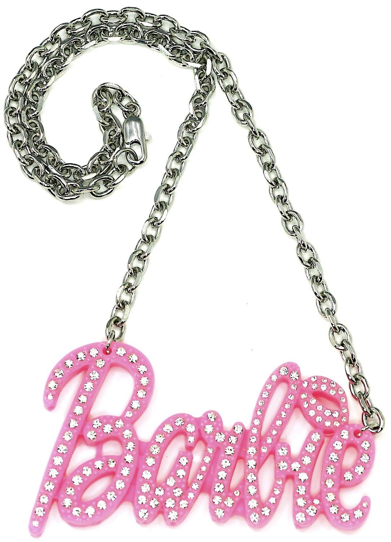 Amazon.com: nicki minaj barbie large iced out pendant pink plastic metal chain link necklace: jewelry