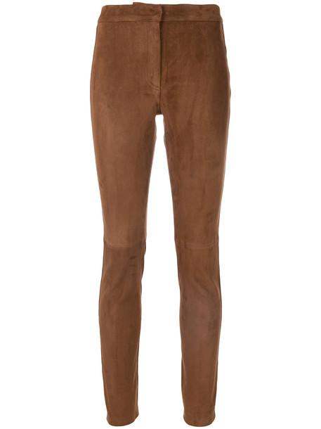LOEWE women spandex cotton suede brown pants