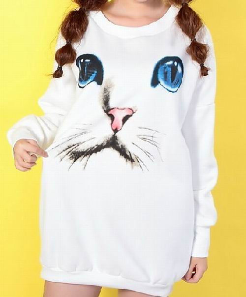 Cute Cat Face Print Good Quality Cotton Knit Sweatshirt Sweater Women Bag Hip | eBay