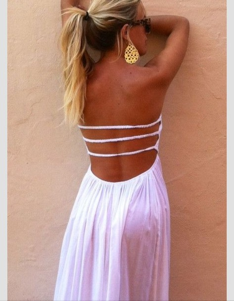 Dress Summer Dress White White Dress Maxi Dress Pink Open Back