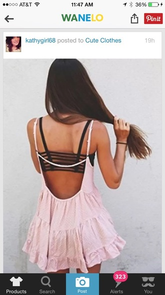 dress pink ruffle backless blush sundress