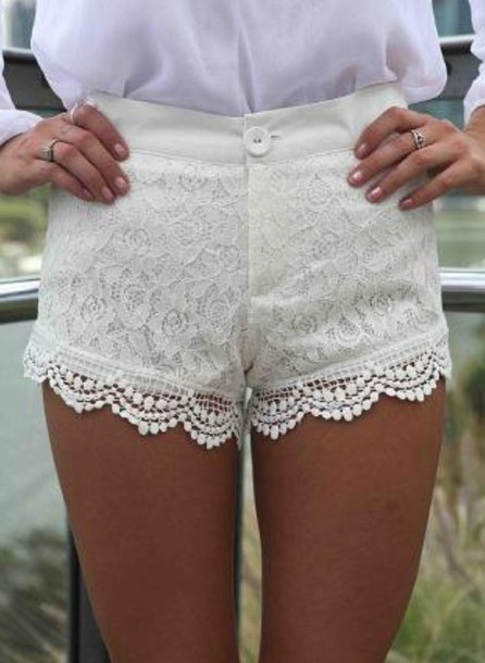 shorts lace lace shorts white white shorts clothes clothes