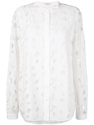 shirt cut-out women white silk top