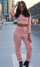 jumpsuit,girly,girl,girly wishlist,pink,two-piece,matching set,crop tops,cropped,crop,joggers,joggers pants,joggers.,sweatpants,long sleeves,off the shoulder,off the shoulder top,ruffle,ruffled top,cute,cute outfits,cute top,high waisted,matching pants and top