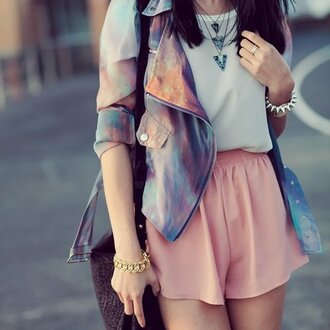 jacket cute galaxy print shorts pink blue pastel jewelry white lovely weheartit outfit high waisted shorts shirt jewels