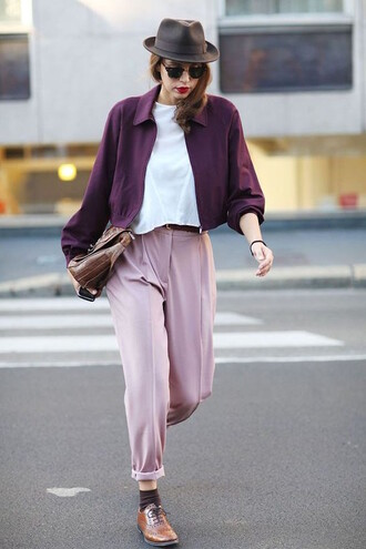 pants blush pink pink burgundy purple spring streetwear streetstyle pastel white brown derby shoes cropped jacket hat plum eggplant