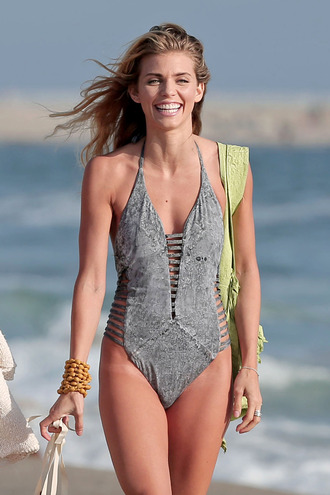 swimwear one piece one piece swimsuit cutout bikini annalynne grey grey swim grey swimsuit swimsuit grey bathingsuit bathing suit annalynne mccord grey swimwear top