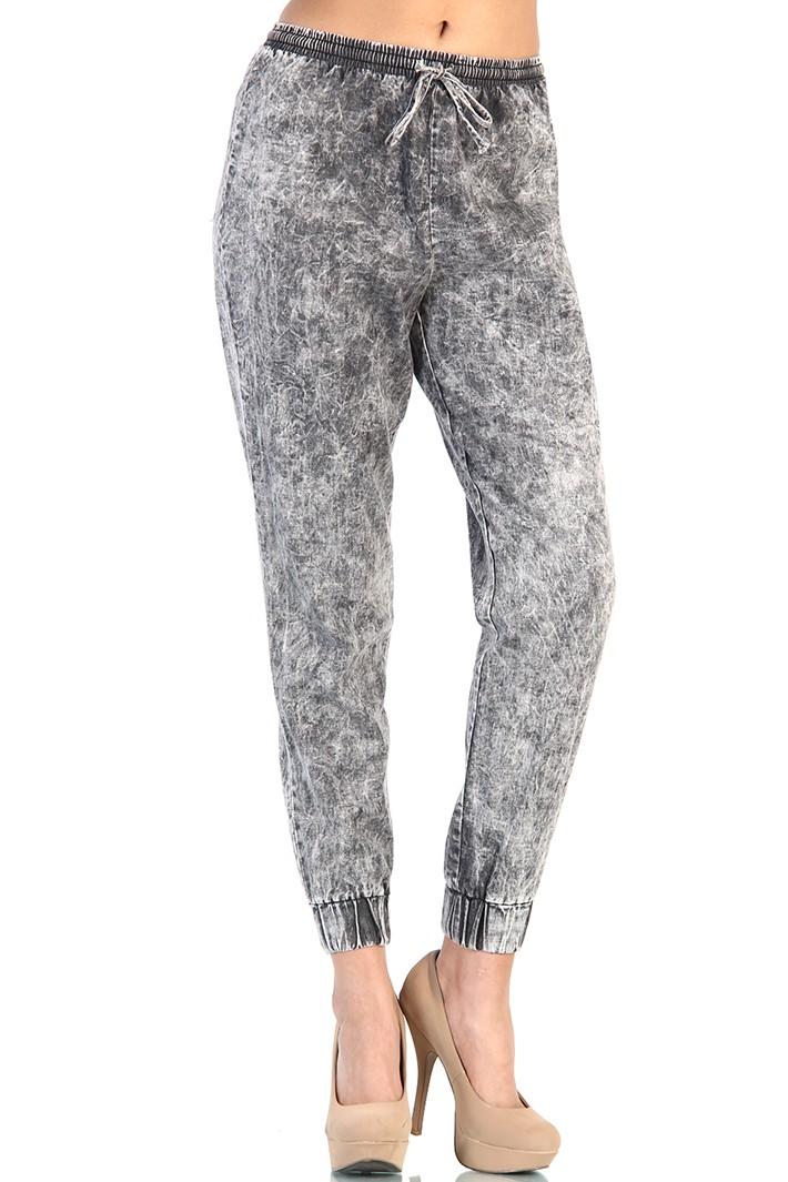 Acid Wash Track Pants - Gray