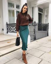 sweater,knitted sweater,knitwear,ankle boots,boots,suede boots,midi skirt,silk,handbag,earrings