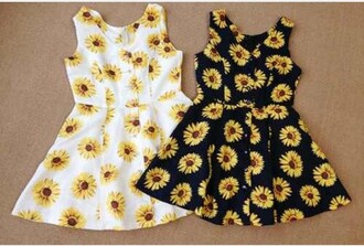 dress summer outfits summer dress sunflower flowers floral black dress white dress black white