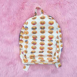 bag emoji print backpack white cute grunge