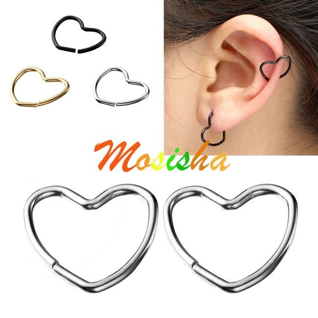 2x heart clip on captive ring fake nose lip tragus cartilage earring no piercing