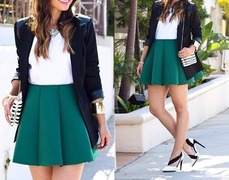 skirt black blazer green skirt bag blouse shoes jacket jewels