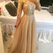 Champagne a-line lace long prom dress, formal dress - 24prom