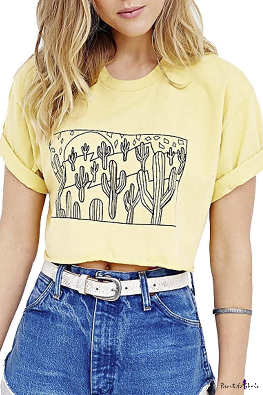 Women's Cactus Pattern Print Party Fall T-Shirt Crop Top Yellow