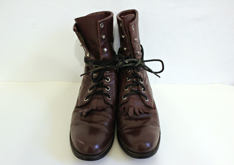 Vintage / lace up combat boots / vintage combat boots / justin's boots / leather boots / leather combat boots / 1980s boots / maroon boots