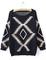 Navy long sleeve geometric print pullovers sweater