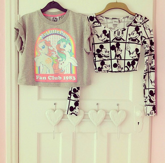 shirt crop tops pretty grey rainbow pink t-shirt skirt blouse mickey mouse les deux