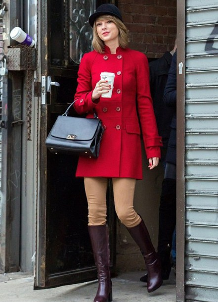 taylor swift riding boots red coat black bag coat