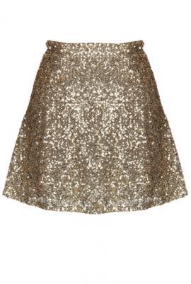Gleam & glisten sequin flared skater skirt in gold