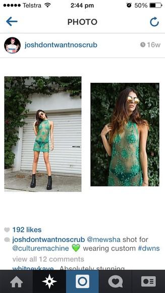 dress green dress grunge grunge style sequins fashion