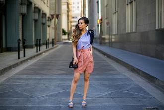 skirt mini skirt wrapped skirt one shoulder top sandals chanel bag blogger blogger style