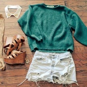 sweater,oversized sweater,dark green,cut off shorts,shredded shorts,High waisted shorts,hipster,high heels,clothes,knitted sweater,shorts,shoes,moss green,jumper,shirt,green,blouse