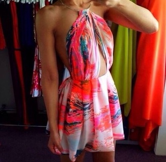 dress colorful beautiful cut out summer style girly love