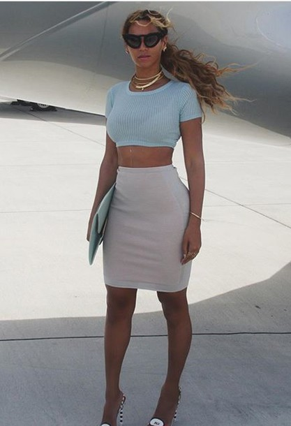 Shirt Style Streetstyle Instagram Beyonce Pencil Skirt Crop Tops Crop Fashion Tumblr ...