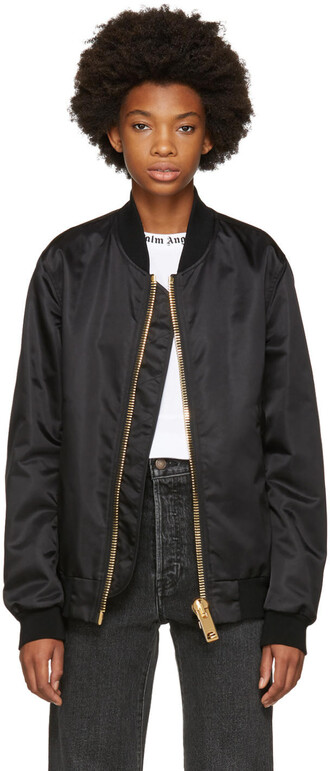 jacket bomber jacket maxi zip black