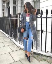 coat,tumblr,grey coat,plaid,plaid coat,denim,jeans,blue jeans,ripped jeans,shoes,black shoes,bag