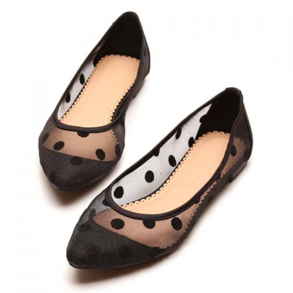 shoes ballet flats polka dots mesh flats black flats chic sheer vintage retro
