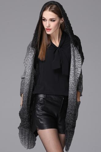 cardigan sweater zaful tie dye winter outfits black grey winter coat