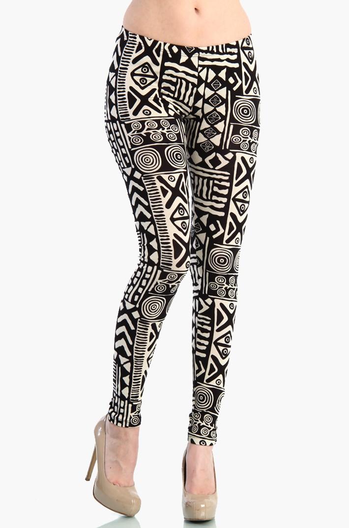 Aztec Leggings - Black / White