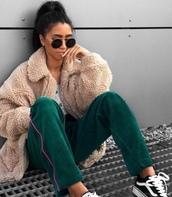 pants,clothes,celebrity style,blogger,teddy bear,teddy bear coat,green,hair,beauty blender,velvet,sunglasses,sportswear