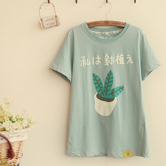 shirt top mint green casual asian kawaii cute style summer t-shirt spring japanese fashion plants
