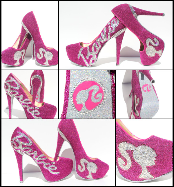 shoes barbie heels high heels glitter shoes glitter glossy glamour glamour pink