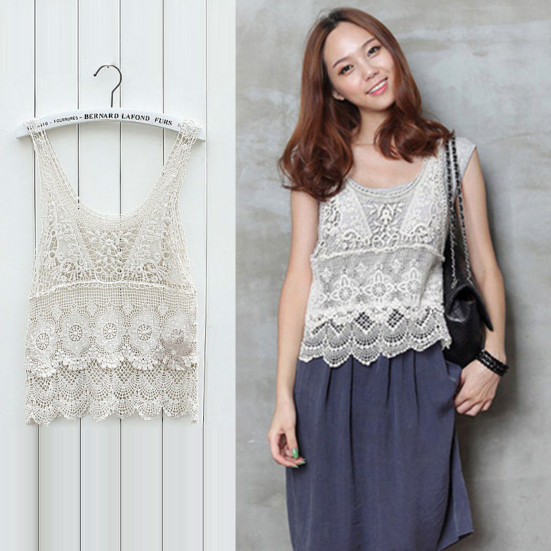Beige Vintage Hollow Out Crochet Cotton Floral Lace Women Vest Tank Tops Shirt | eBay