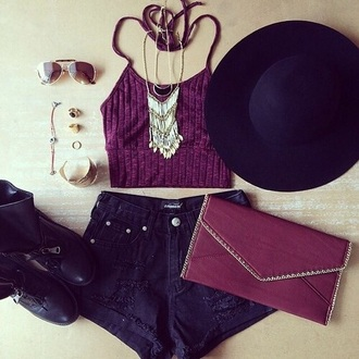 tank top purple black top crop tops bralette high waisted shorts hat sunglasses boo jewelry bangle ring clutch